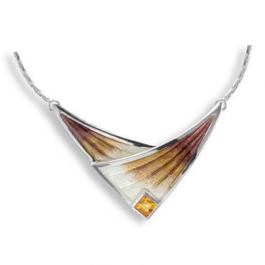 Nicole Barr Sterling Silver Necklace-Brown. Citrine