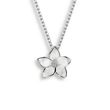Sterling Silver White Stephanotis Necklace. White Sapphires.