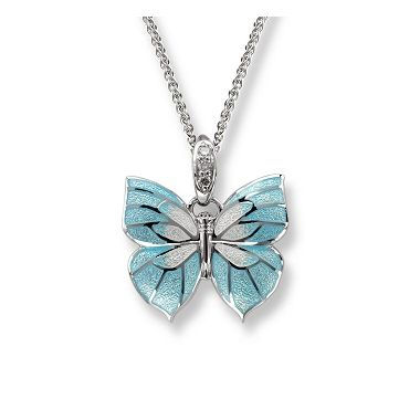 White Sapphires - Sterling Silver Blue Butterfly Necklace