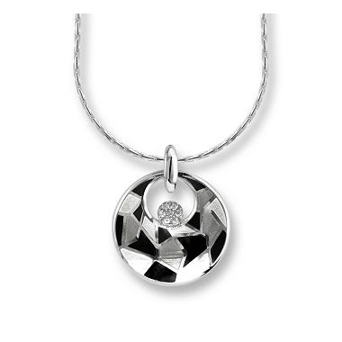 Sterling Silver Harlequin Necklace-Black-White. White Sapphires