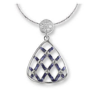 Nicole Barr Sterling Silver Quilted Triangle Necklace-Purple. White Sapphires