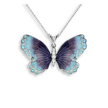 Black Rhodium Plated Sterling Silver Butterfly Necklace- Blue. White Sapphires