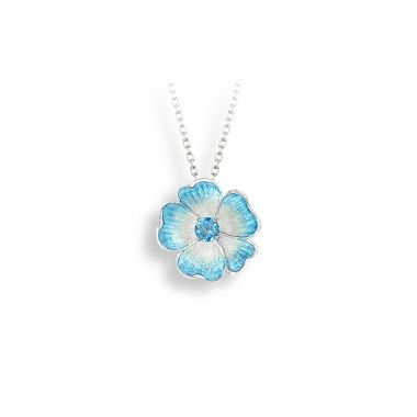 Sterling Silver Blue Rose Necklace-Blue Topaz