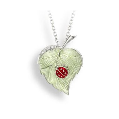 Nicole Barr Sterling Silver Green Ladybug-Leaf Necklace White Sapphire