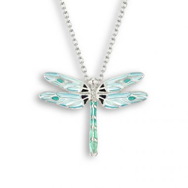 Sterling Silver Blue Dragonfly Necklace. White Sapphire.