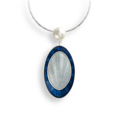 """New"" Nicole Barr Sterling Silver Necklace-Oval-Blue-Pearl"