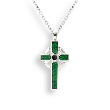 Sterling Silver Necklace-Celtic-Cross-Green
