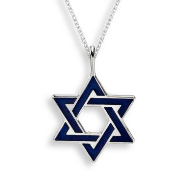 Sterling Silver Blue Star of David Necklace.