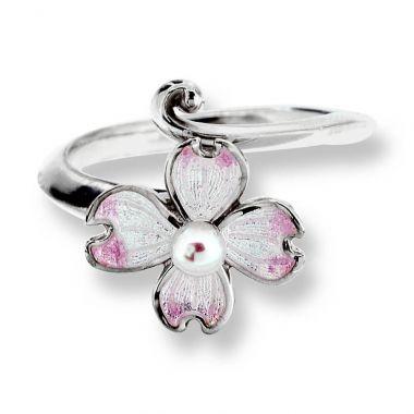 Sterling Silver Dogwood Ring-White. Pinkish Akoya Pearls