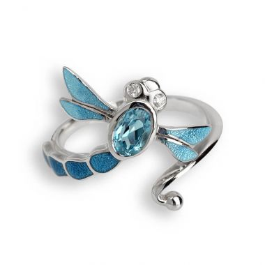 Sterling Silver Blue Dragonfly Ring. Blue Topaz. White Sapphires.