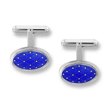 Nicole Barr Sterling Silver Harlequin Oval T-Bar Cufflinks-Blue