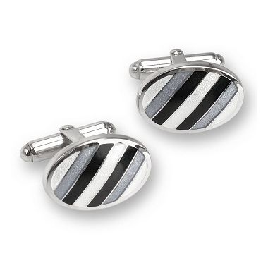 Sterling Silver Oval Shaped T-Bar Cufflinks-Gray