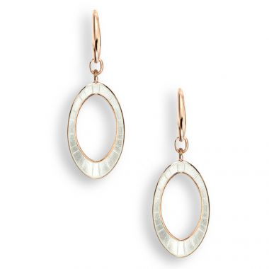 Rose Gold Plated Sterling Silver White Oval Wire Earrings.