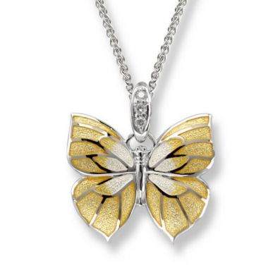 Nicole Barr Sterling Silver Yellow Butterfly Necklace