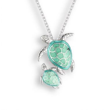 Nicole Barr Sterling Silver Green Turtle Necklace