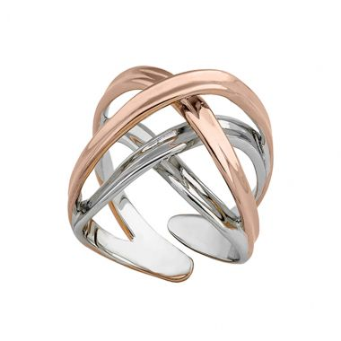 Jorge Revilla Sterling Silver & 18k Rose Fashion Ring