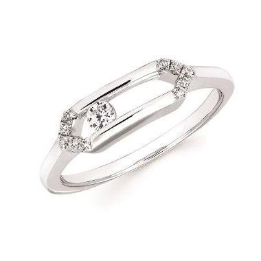 1/8ctw Sliding Diamond Ring in 10k White Gold