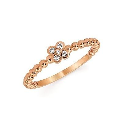 Diamond Fashion Ring with Beaded Detail in 10k Rose Gold