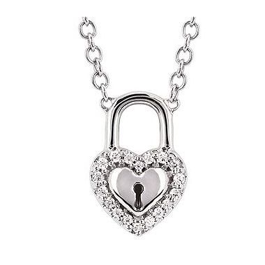 .08ctw Diamond Heart Lock Fashion Pendant in 10k White Gold