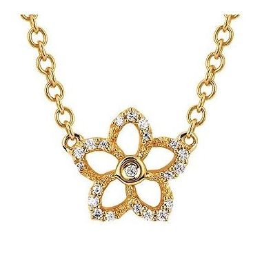 .08ctw Diamond Flower Fashion Pendant in 10k Gold