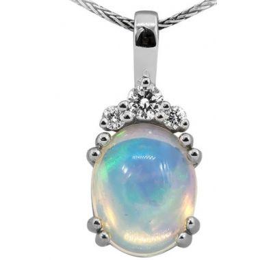 14k White 10x8 Ethiopian Opal & Diamond Pendant