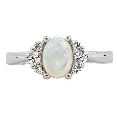 14k White Natural Ethiopian Opal Diamond Fashion Ring