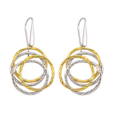 """""""New"""" Jorge Revilla Sterling Silver Dangle Earrings with 18k Yellow Finish"""
