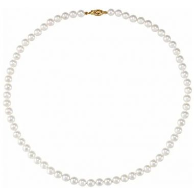 14k 5-6mm 'AA' Round White Saltwater Akoya Cultured Pearl Necklace 18 inches