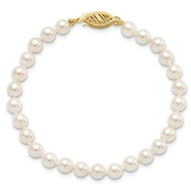 14k 5-6mm Round White Saltwater Akoya Cultured Pearl Bracelet 7 inches