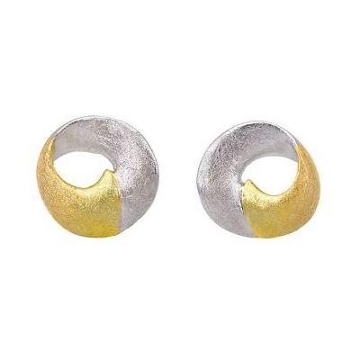 Jorge Revilla 925 Sterling Silver Two-Tone Stud Earrings