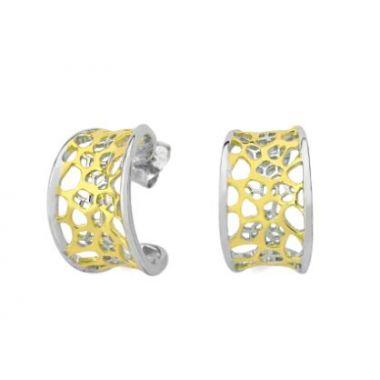 Jorge Revilla 925 Fashion Earrings with 18k Yellow Finish