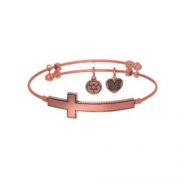 Brass with Pink Sideways Cross Angelica Bangle