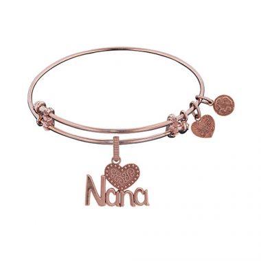 Brass Pink Finish NANA Charm on Pink Angelica Bangle