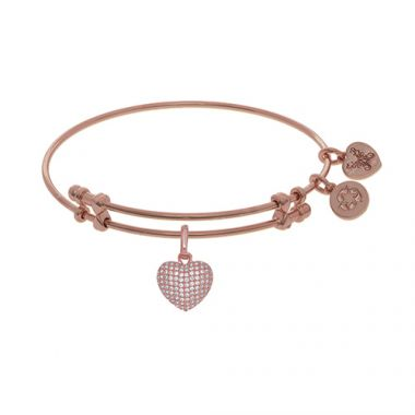 Angelica Adjustable Rose Brass Heart Charm Bangle