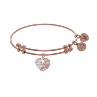 Angelica Adjustable Rose and White Brass Finish Heart Charm Bangle