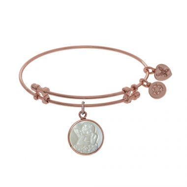 Angelica Adjustable Rose Brass Round Angel Charm with Created Mop Bangle