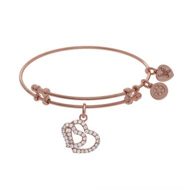Angelica Adjustable Rose Brass Double Heart Charm Bangle