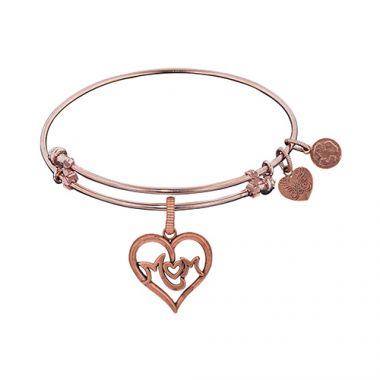 Angelica Adjustable Rose Brass Finish M-Heart-M Charm Bangle