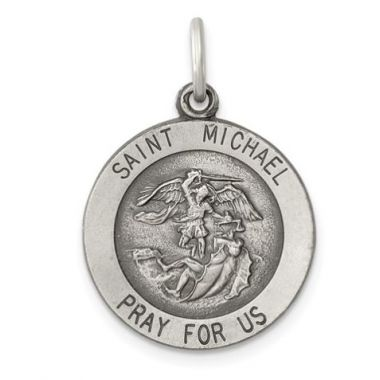 Medium Sterling Silver Antiqued St. Michael Medal