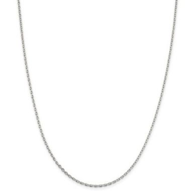 Sterling Silver 2mm Beveled Oval Cable Chain