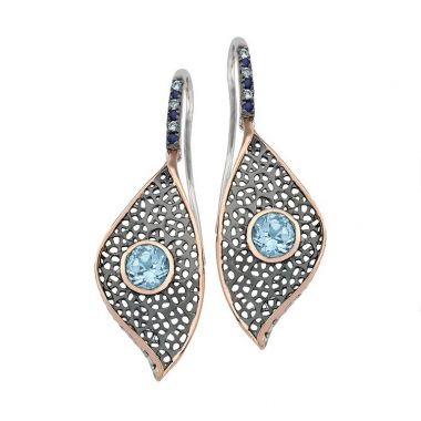 Jorge Revilla Sails Drop Fashion Earrings Blue Topaz/Sapphire
