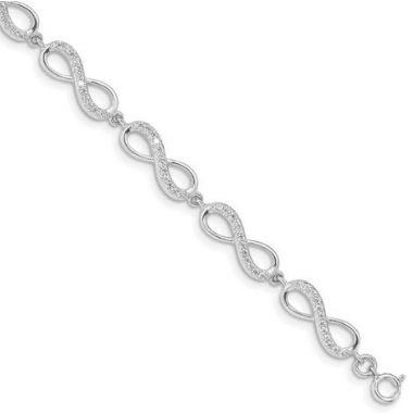 Sterling Silver Rhodium Plated CZ Infinity Bracelet