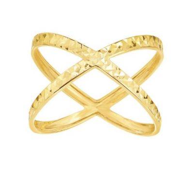 14k Diamond Cut CrissCross Ring