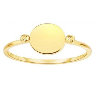 14k Yellow Gold Flat Bead Fashion Ring