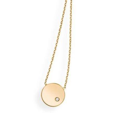 """14k Yellow Gold Round Fashion Pendant w/ Diamond 18"""""""