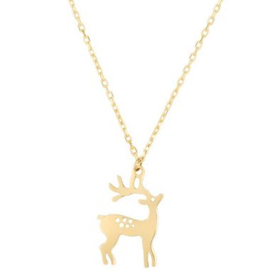 "Holiday Treasures 14k Raindeer Pendant with 18"" Chain"