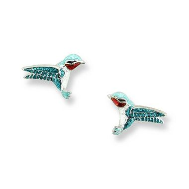 Sterling Silver Hummingbird Stud Earrings-Blue