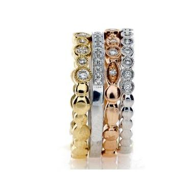 18k Diamond Stackable 4 Ring Multi-Color Set