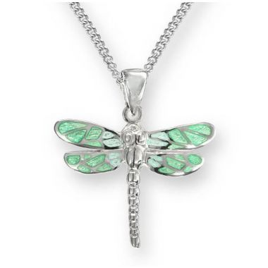 Sterling Silver Dragonfly Necklace-Green.