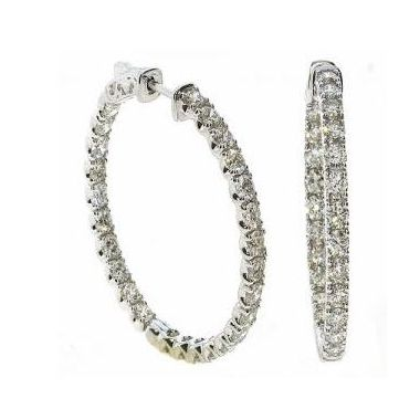18k White Gold 4.35 Carat Diamond Hoops